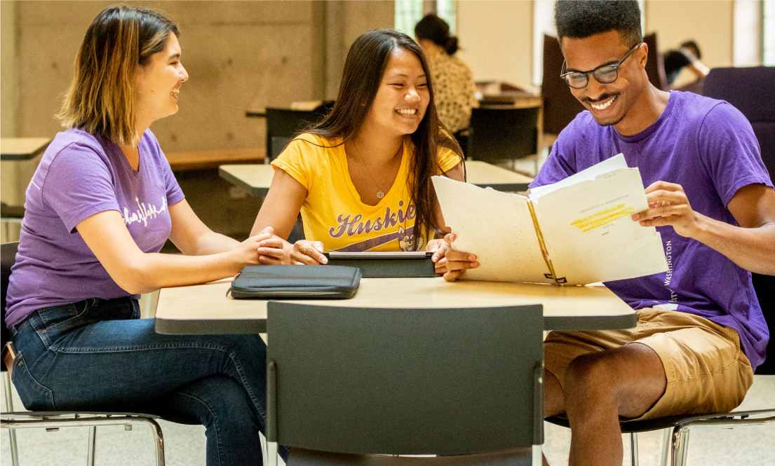 Students studying together in the Husky Union Building