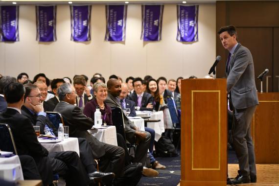 Professor Atkins speaks to alumni