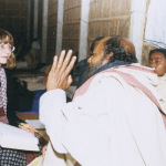 Carol Salomon interviewing a Baul guru in Bangladesh