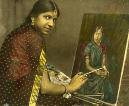 S.B. Syed Dabhol; unknown artist; Lady Painting a Portrait; ca. 1920-1940; Gelatin silver print and watercolor; Alkazi Collection of Photograph, D2008.01.0004