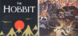 The Hobbit book cover next to traditional Hindi painting