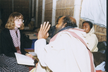 Carol Salomon interviewing a Baul guru in Bangladesh