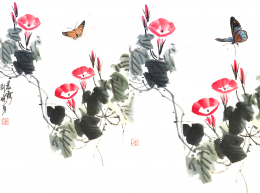 Chinese watercolor of flowers and butterflies
