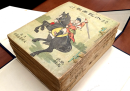 Person with sword on horse image on book