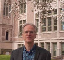 Professor Hamm standing in the quad