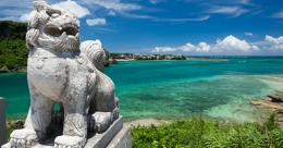 lion statue next to the beach