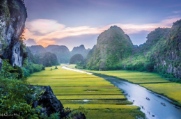 Vietnam field with mountains surrounding