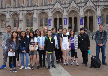 middle school students in front of Suzzallo library