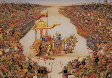 painting of golden chariot surrounded by people