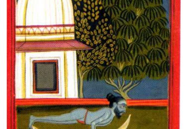 painting of a man doing yoga on a tiger skin rug