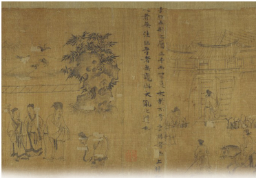 weathered Chinese illustrations with text