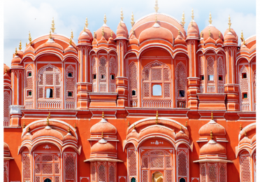 Pink and red building in India