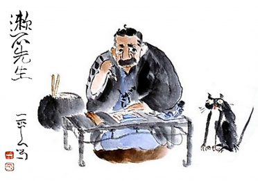 Drawing of man sitting at a table with black and white cat nearby