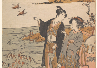 Japanese drawing of two women in kimonos