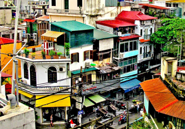 colorful image of Vietnamese street from above