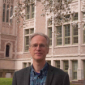 Professor Hamm standing in the quad